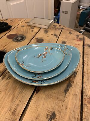 Old Foley Dishes. Trio Of Beautiful Dishes In Duck Egg Blue. Capri Pattern • 9£