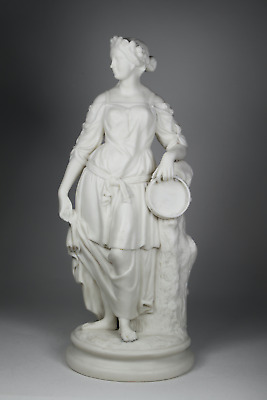 Antique 19th Century Victorian Parian Ware Figure Statue Lady With Tambourine • 175£