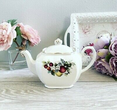 Lovely Vintage Cube Teapot With Fruit Pattern • 9.99£