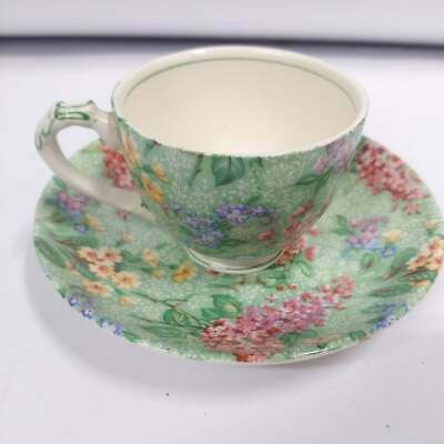 Vintage Empire England  Lilac Time  Chintz China Demitasse Cup And Saucer • 30.93£