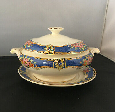 VINTAGE BOOTHS SILICON CHINA 1920s/1930s Made For Harrods Small Tureen & Saucer • 8£