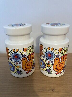 Pair Of 60s MidCentury Lord Nelson Pottery Gaytime Sugar Flour Shaker Sifters • 40£