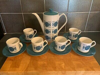 Vintage Mid Century Johnson Coffee Pot And 6 Cups & Saucers  • 15£