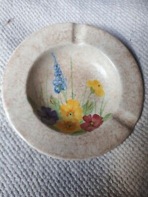 E Radford Pottery England Hand Painted Floral ASHTRAY. EARTHENWARE - RING HOLDER • 6£