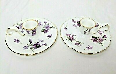 Hammersley Victorian Violets Candle Holder Chamber Stick Set Bone China Gilded • 29.45£