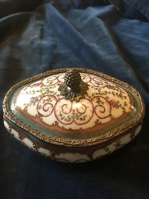 Vintage Continental Pottery Lidded Bowl/ Box With Bronze Mounts • 4.99£