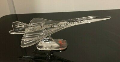 Solitaire Lead Crystal Italy Clear Glass Concorde Aeroplane Desk Ornament • 35£