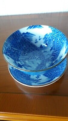 A Lovely Ceramic Oriental Bowl And Plate Decorated With A Pretty Oriental Scene • 12.99£
