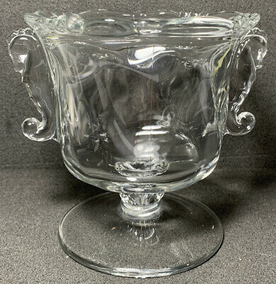 """Heisey Glass 507 Crystal Footed Candy Dish With Seahorse Handles """"NO LID"""" • 8.84£"""