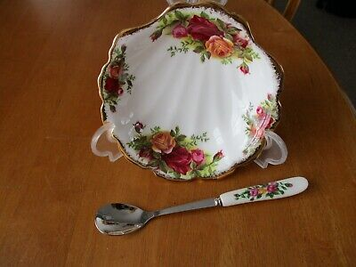 Royal Albert Old Country Roses Shell Shaped Condiment  Dish/good Match Spoon 1st • 12.99£