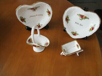 2 Royal Albert Old Country Roses Heart Shaped Dishes/basket/wheelbarrow 1st Mint • 13.99£