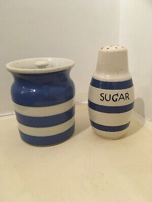 Vintage TG Green Cornish Ware Striped Pot & Other Sugar Sifter • 25£
