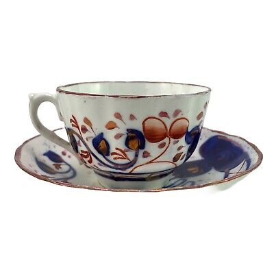 Early Antique Gaudy Welsh China Tea Cup & Saucer • 15£