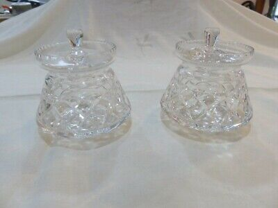 PAIR OF CUT CRYSTAL PRESERVE JARS - Pristine Condition • 7.99£