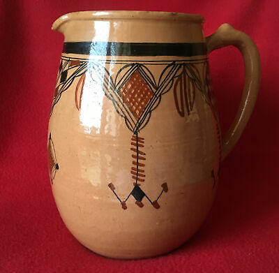 Large French Vintage Earthenware Glazed Rustic  Jug/pitcher - Hand Painted • 8£