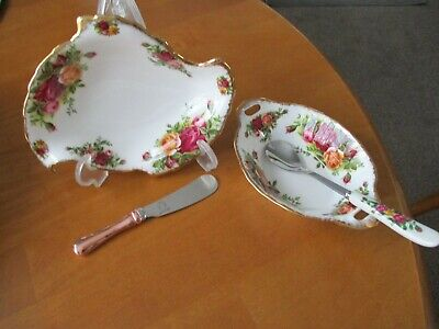 2 Royal Albert Old Country Roses Butter Condiment Dishes 1st/spreader/spoon Unu  • 13.99£