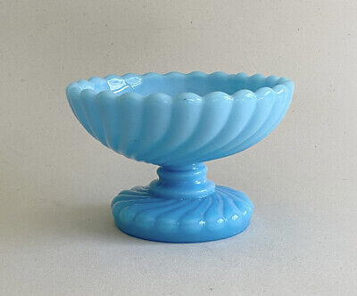 Vintage Portieux Vallerysthal Turquoise Blue Glass Compote Bowl French Swirl • 30.56£