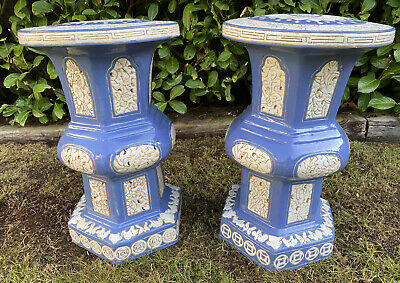PAIR VINTAGE ANTIQUE Style CHINESE GLAZED CERAMIC GARDEN SEATS STOOLS BLUE VGC • 128£