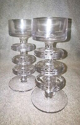 Pair Of Vintage Wedgwood Sheringham 3 Ringed Clear Glass Candle Sticks • 19.99£
