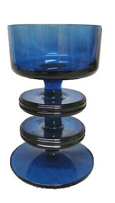 Vintage Blue Sheringham Wedgwood Glass Two Ringed Candle Stick • 14.99£