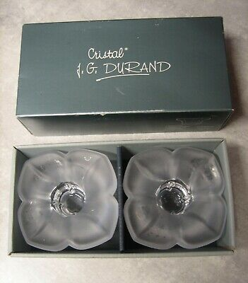 2 Florence 'Satine' Heavy Cristal Candle Holders Arques France - J G Durand • 6.50£