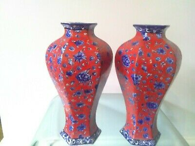 Pair Of Edwardian Vases Red And Blue Think Staffordshire. • 20£