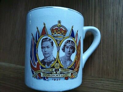 George V1  And Queen Elizabeth 1937 Coronation Mug Conisbrough District Council  • 5£