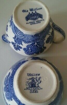 Willow! Victoria Porcelain, Fenton England, Small Bowl And Willow Milk Jug  • 2.20£