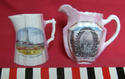 Blackpool Commemorative Porcelain Jugs With Images Of Big Wheel And Tower. C1900 • 22£