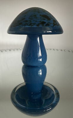Vintage 1970 Wedgwood Blue Glass Toadstool Paper Weight Excellent Condition • 20£