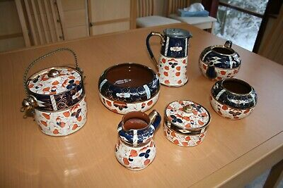 Antique Gaudy Welsh Imari Style  Floral Leaves  Pattern Pottery • 50£
