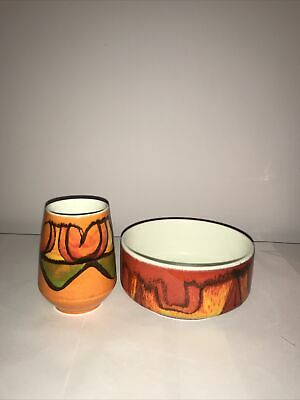Poole Pottery Delphis Vase And Bowl • 20£