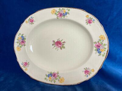 Beautiful Alfred Meakin Oval Serving Plate With Pink Floral Rose Design • 12£