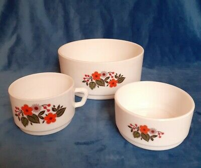 Arcopal France Glass Scania Pattern Orange Floral Retro X 3 , Cup And 2 Bowls • 15£