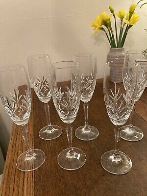 6x Vintage Crystal Champagne/Prosecco  Flutes • 3.40£
