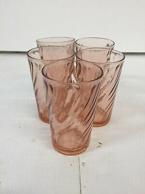 Arcoroc France Set Of 5 Coral Pink Glass Cup • 28.06£