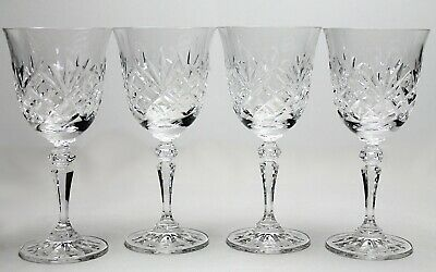 A Set Of Four Vintage Galway Cut Crystal Wine Glasses Signed To The Base • 40.99£