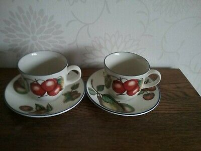 Pair Staffordshire Autumn Fayre 2 Tea Cups And Saucers  • 6£
