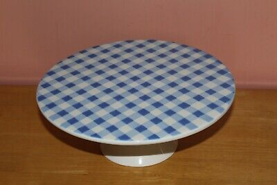 Laura Ashley Brand Blue And White Checked Ceramic Large Cake Stand. Home Decor • 4.20£