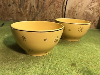 Pair Of Vintage Yellow Bowls With Gold Pattern. • 0.99£
