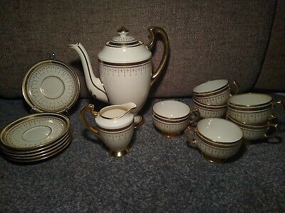 Grosvenor China Coffee Pot Cups & Saucers Set Of Six Gilded Greek Key Swags Gold • 15£