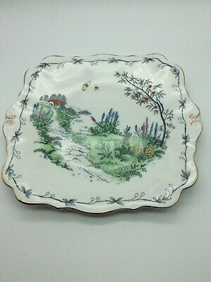 Queen Anne Cake Plate Pretty Hand Finished Vintage Deco • 8.99£
