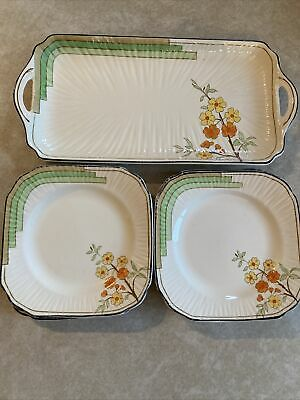 Vintage Art Deco Burleigh Ware Belvedere 6 Side Plates And Sandwich Tray • 11.75£