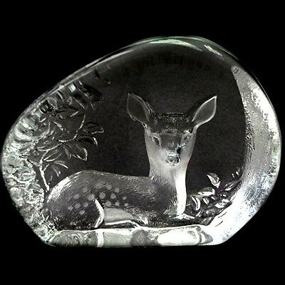 Swedish Etched Crystal Paperweight Seated Woodland Fawn MATS JONASSON • 98.68£