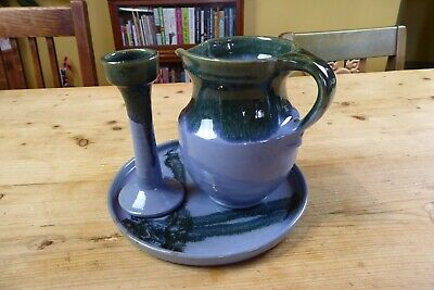 Vintage Robin Hoods Bay Pottery Lee Steele Tray, Candlestick And Jug Blue/Green • 15£