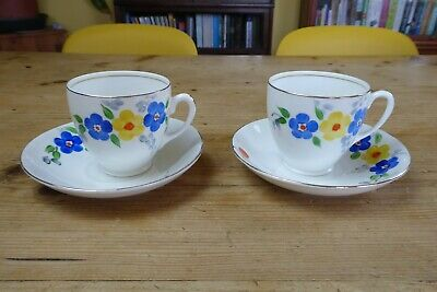 2 Vintage Art Deco Hand Painted Floral Cups And Saucers Unmarked • 4£