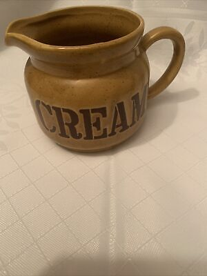 Pottery CREAM JUG Beige WITH Brown Writing CREAM! • 3.50£
