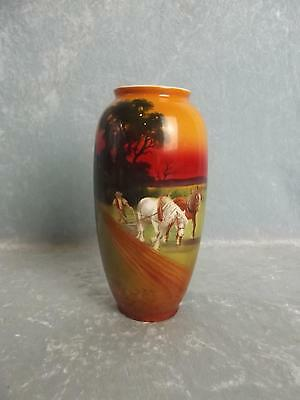 Circa 1920 Royal Doulton Vase With Hand Painted Scene Of Heavy Horses Ploughing  • 425£