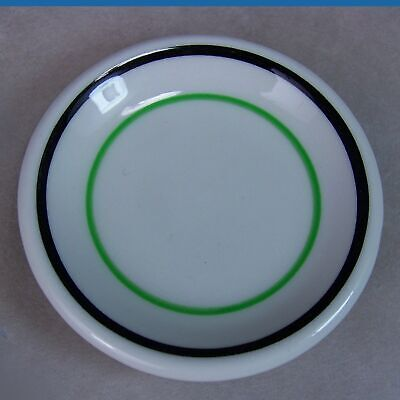 Vintage Stoneware Pottery Butter Pat Restaurant Ware Green Blue Rings • 7.15£