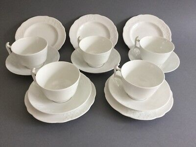 STYLISH SPODE COPELAND CHINA WHITE EMBOSSED TRIOS X 5 (London Shape Cup) 1940's • 49.95£